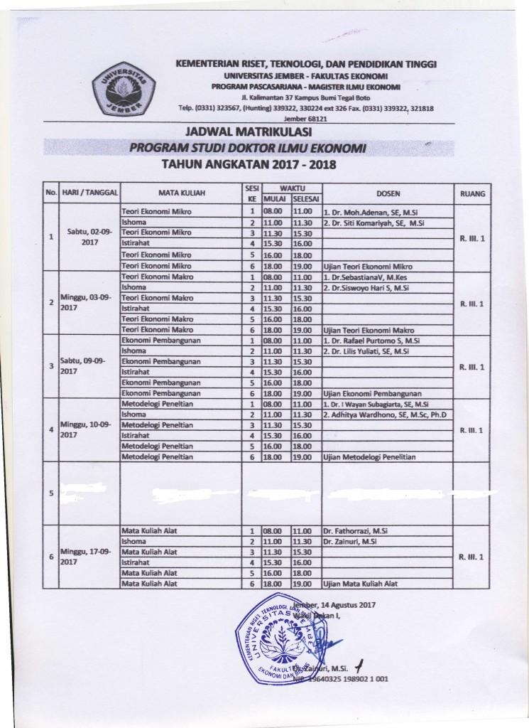 jadwal matrikulasi doktor IE